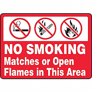 No Smoking Sign,10 x 14In,BW/R,ENG,SURF