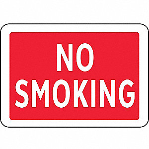 No Smoking Sign,7 x 10In,R and BK/GRA