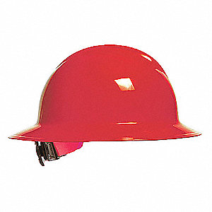 Full Brim Hard Hat, 6 pt. Ratchet Suspension, Red, Hat Size: 6-1/2 to 8