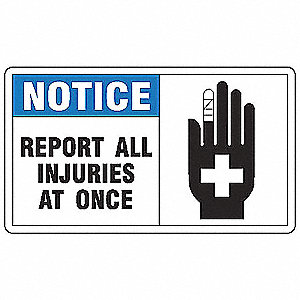 "Accident Prevention, Notice, Vinyl, 7"" x 10"", Adhesive Surface, Not Retroreflective"