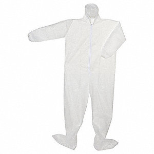 Hooded Disposable Coveralls with Elastic Cuff, White, 5XL, Polypropylene