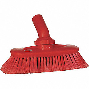 "9-1/4""L Polyester Replacement Brush Head Scrub Brush, Red"