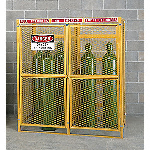"Yellow Gas Cylinder Cabinet, 30"" Overall Width, 38"" Overall Depth, 42"" Overall Height, 4 Horizontal"
