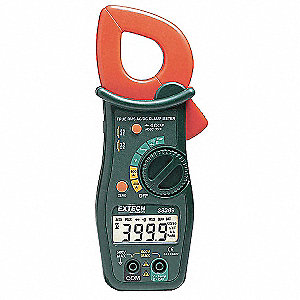 "Clamp On Digital Clamp Meter, -4° to 1400°F Temp. Range, 1-1/4"" Jaw Capacity, CAT II 600V"