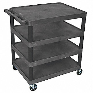 Flush Thermoplastic Resin Utility Cart, 400 lb. Load Capacity, Number of Shelves: 4