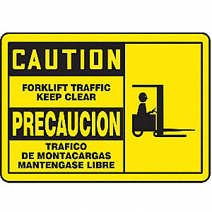 "Lift Truck Traffic, Caution/Precaucion, Aluminum, 7"" x 10"", Not Retroreflective"