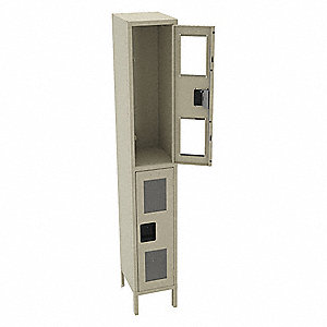 "Sand Wardrobe Locker, (1) Wide, (2) Tier Openings: 2, 12"" W X 15"" D X 78"" H"