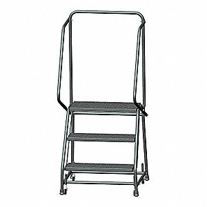 "3-Step Rolling Ladder, Perforated Step Tread, 58-1/2"" Overall Height, 450 lb. Load Capacity"