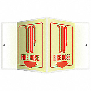 Fire Hose Sign,6 x 8-3/4in,R/Glow,FH,ENG