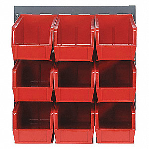 "Louvered Bench Rack,19"" H,9 Bins,Red"