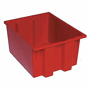 "Stack and Nest Container, Red, 10""H x 19-1/2""L x 15-1/2""W, 1EA"