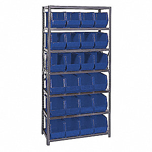 "36"" x 18"" x 75"" Bin Shelving Unit with 2800 lb. Load Capacity, Blue"