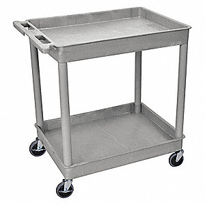 Utility Cart,400 lb. Cap., PE,2 Shelves