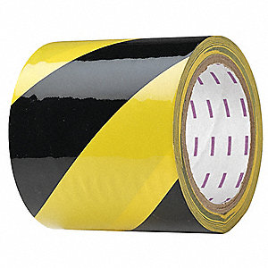 "Safety Warning Tape, Striped, Roll, 4"" x 54 ft., 1 EA"