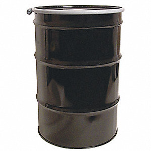 55 gal. Black Steel Open Head Transport Drum
