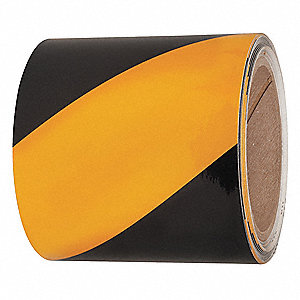 "Reflective Marking Tape, Striped, Continuous Roll, 4"" Width, 1 EA"