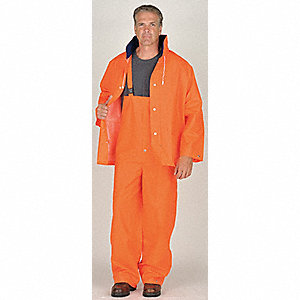 2-Piece Rain Suit with Jacket/Bib Overall, ANSI Class: Unrated, XL, Orange, High Visibility: No