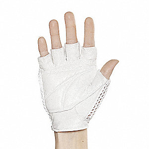 Leather Mechanics Gloves, Grain Leather Palm Material, White, L, PR 1