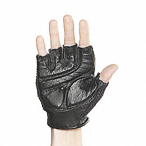 Leather Mechanics Gloves, Grain Leather Palm Material, Black, XL, PR 1