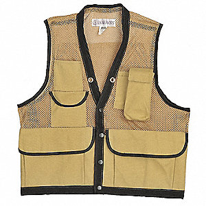 Field Vest,XL,Tan,Cotton,Zipper