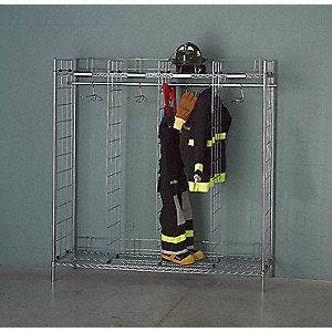 Chrome Turnout Gear Storage Rack, Free Standing Mounting, Number of Sides: 2
