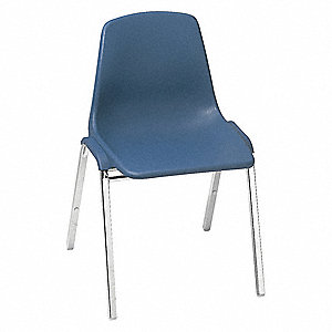 Chrome Steel Stacking Chair with Blue Seat Color, 4PK
