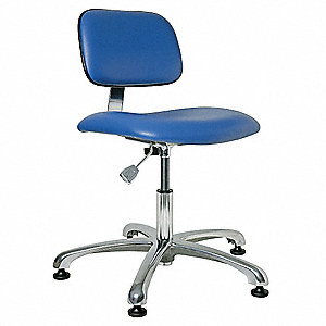 "Vinyl ESD Cleanroom Chair with 17"" to 22"" Seat Height Range and 300 lb. Weight Capacity, Blue"