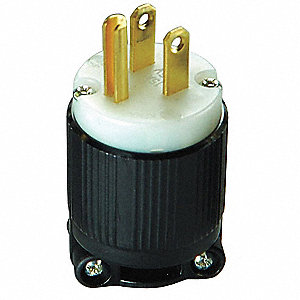 Straight Blade Plug, 15 Amps, 115VAC Voltage, NEMA Configuration: 5-15P, Number of Poles: 2