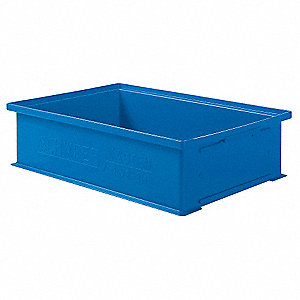 Solid Wall Stacking Cntner,19x13x5,Blue