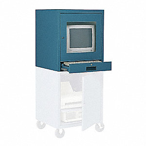 "21"" x 22-1/2"" x 26"" Steel CRT Monitor Cabinet, Blue"