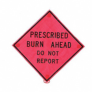Folding Fire Sign,36 x 36In,BK/ORN,Mesh
