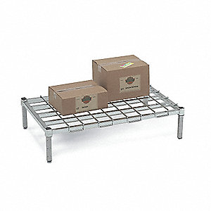 "36"" x 24"" x 8"" Steel Dunnage Rack with 1200 lb. Load Capacity, Silver"