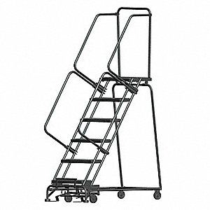 "6-Step Rolling Ladder, Serrated Step Tread, 93"" Overall Height, 450 lb. Load Capacity"