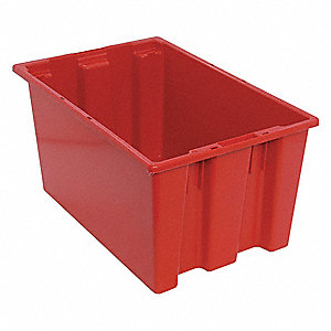 "Stack and Nest Container, Red, 12""H x 23-1/2""L x 15-1/2""W, 1EA"