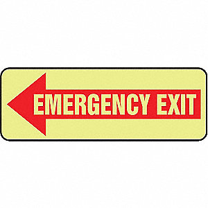 "Exit Sign,Emergency Exit,3-1/2""x10"""