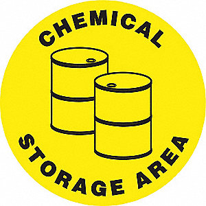 "Chemical, Gas or Hazardous Materials, No Header, Vinyl, 17"" x 17"", Adhesive Floor"