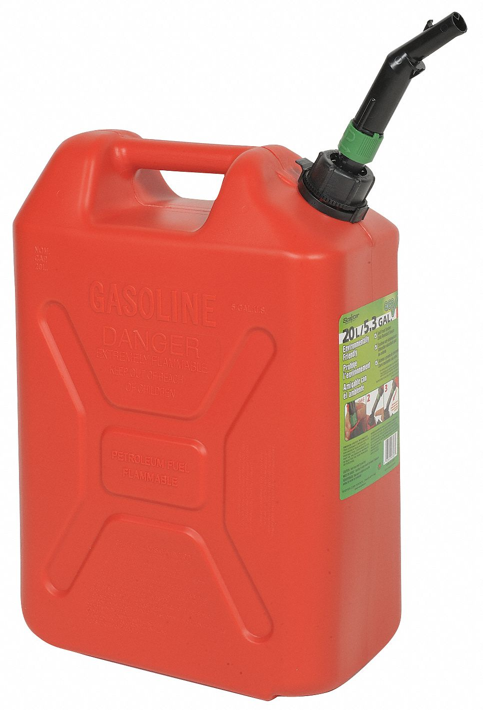 Gas Can,  Plastic,  5 gal Capacity,  18 15/32 in Height,  13 7/64 in Length,  7 15/32 in Width