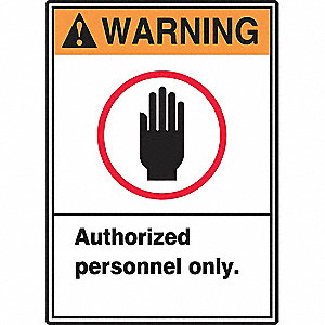 Warning Sign,14 x 10In,ORN and BK/WHT
