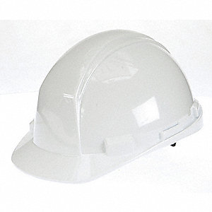 North Class E Front Brim Hard Hat with Rain Trough, 4 pt. Ratchet Suspension, White, Hat Size: 6-1/2