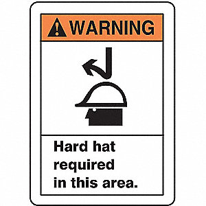Warning Sign,Hard Hat Req.,14x10,Alum.