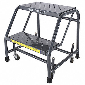 "2-Step Rolling Ladder, Perforated Step Tread, 19"" Overall Height, 450 lb. Load Capacity"
