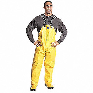 Rain Bib Overall, High Visibility: No, ANSI Class: Unrated, PVC, L, Yellow