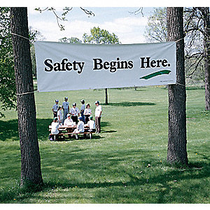 Safety Banner, English, 3 ft. x 5 ft., 1 EA