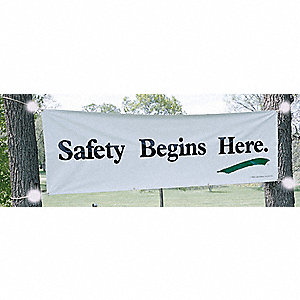"Safety Banner, English, 3 ft. x 10"", 1 EA"