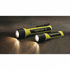 Industrial Xenon Handheld Flashlight, Plastic, Maximum Lumens Output: 34, Yellow