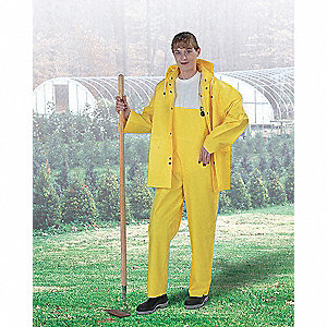 3-Piece Flame Resistant Rain Suit with Jacket/Bib Overall, Hood Style: Detachable, PVC, XL, Yellow