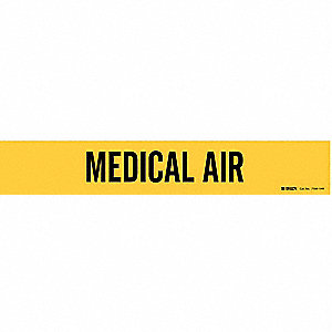 Pipe Marker, Medical Air, Y, 8 In orGreater