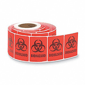 Biohazard Label,5 In. H,3-1/2 In. W,PK20