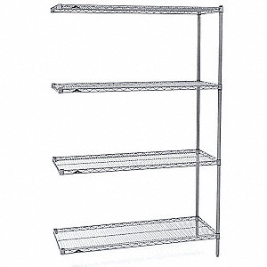 "Add-On Wire Shelving Unit, 60""W x 24""D x 63""H, 4 Shelves, Stainless Steel Finish, Silver"