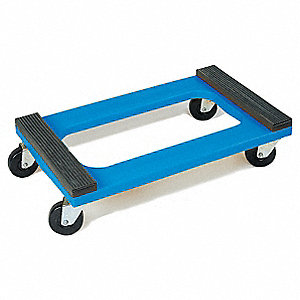 "30""L x 18""W x 8-3/4""H Blue General Purpose Dolly, 1200 lb. Load Capacity"